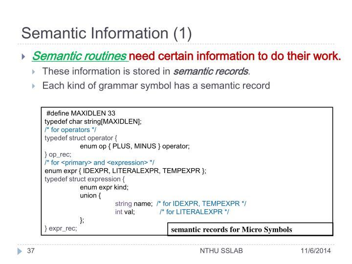 Semantic Information (1)