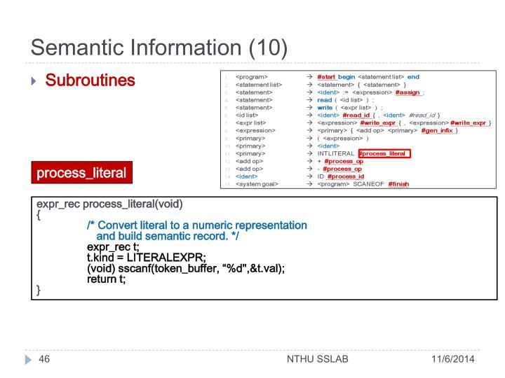Semantic Information (10)