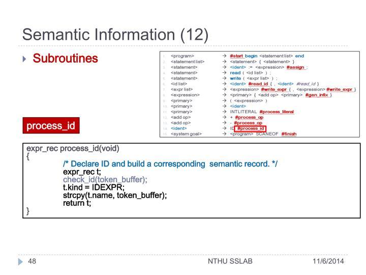 Semantic Information (12)