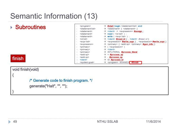 Semantic Information (13)