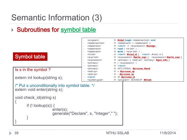 Semantic Information (3)