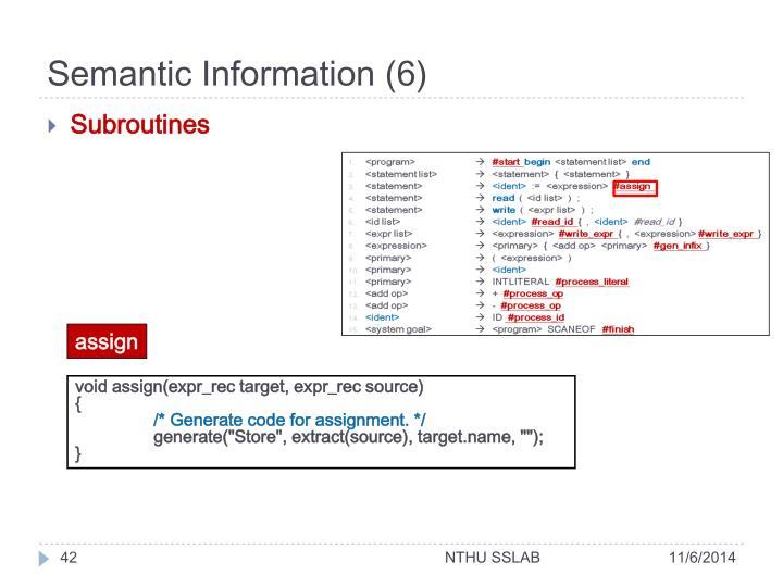 Semantic Information (6)
