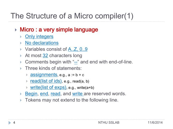 The Structure of a Micro compiler(1)