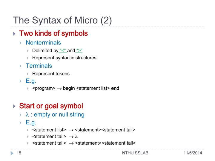 The Syntax of Micro (2)