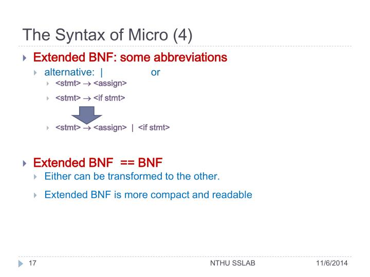 The Syntax of Micro (4)