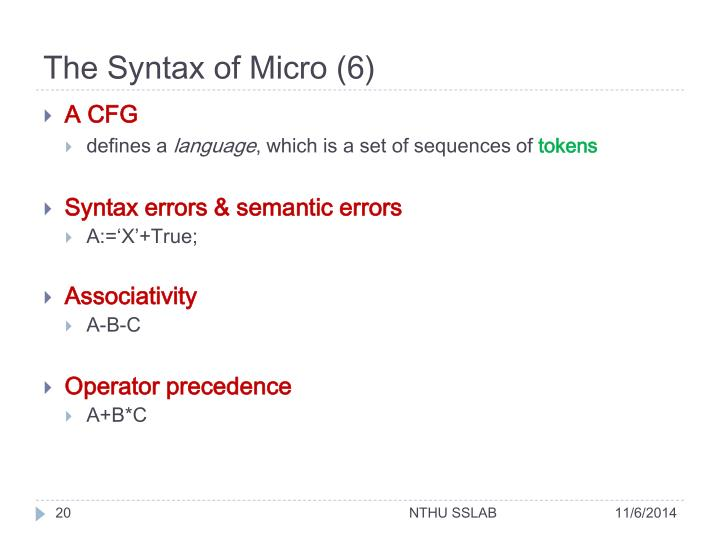 The Syntax of Micro (6)