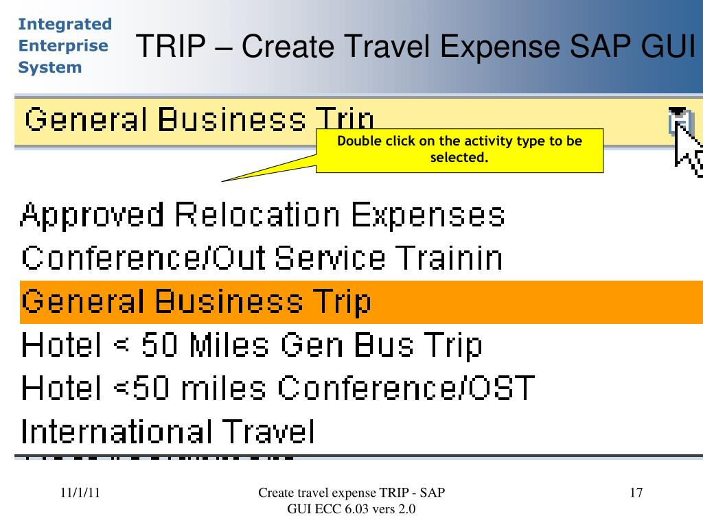 PPT - SAP TRIP Transaction Creating a Travel Expense Report (TER