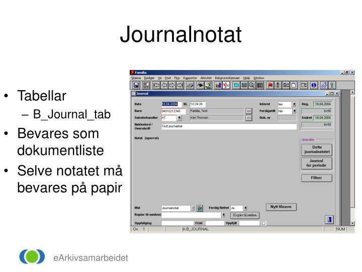 Journalnotat
