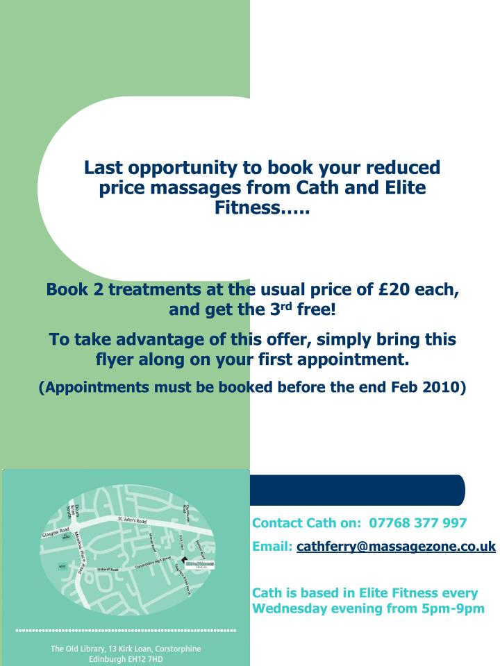 Last opportunity to book your reduced price massages from cath and elite fitness