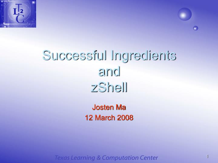 successful ingredients and zshell n.