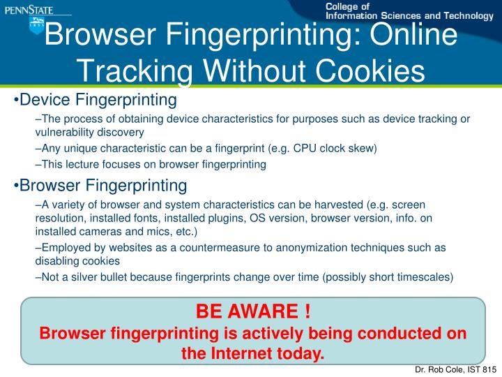 browser fingerprinting online tracking without cookies n.