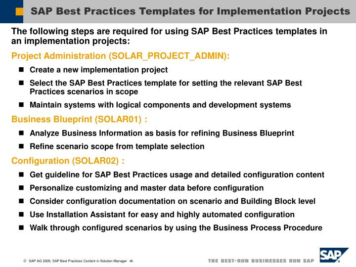 SAP Best Practices Templates for Implementation Projects