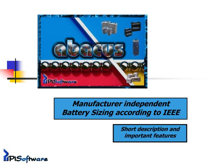 manufacturer independent battery sizing according to ieee n.