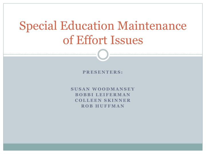 special education maintenance of effort issues n.