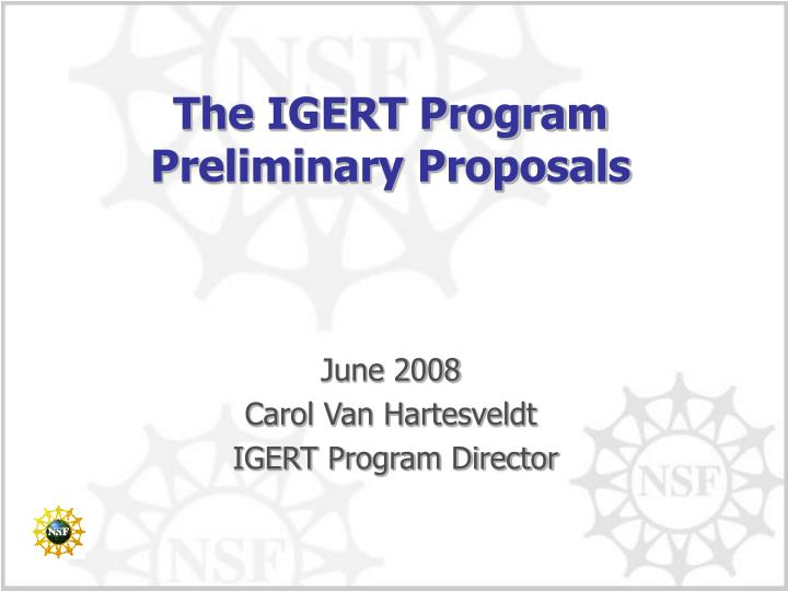 the igert program preliminary proposals n.