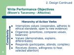 write performance objectives bloom s taxonomy affective