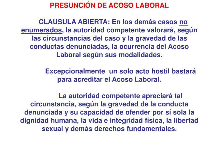 PRESUNCIÓN DE ACOSO LABORAL