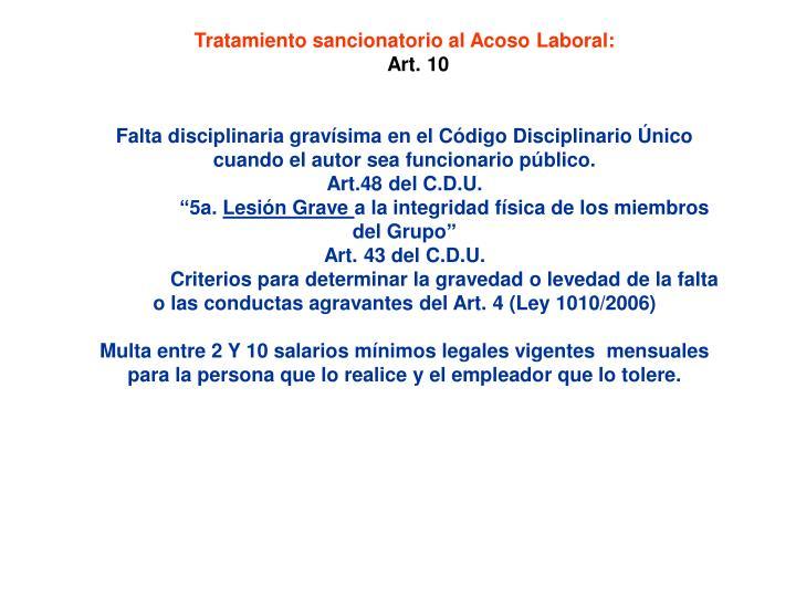Tratamiento sancionatorio al Acoso Laboral: