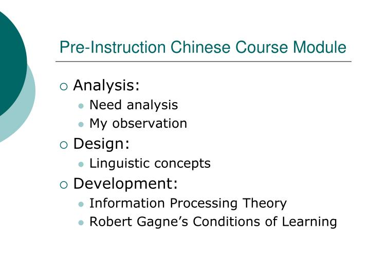 Pre instruction chinese course module1