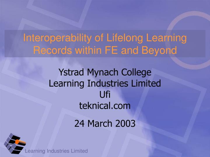 interoperability of lifelong learning records within fe and beyond n.