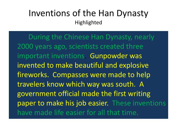 Inventions of the Han Dynasty