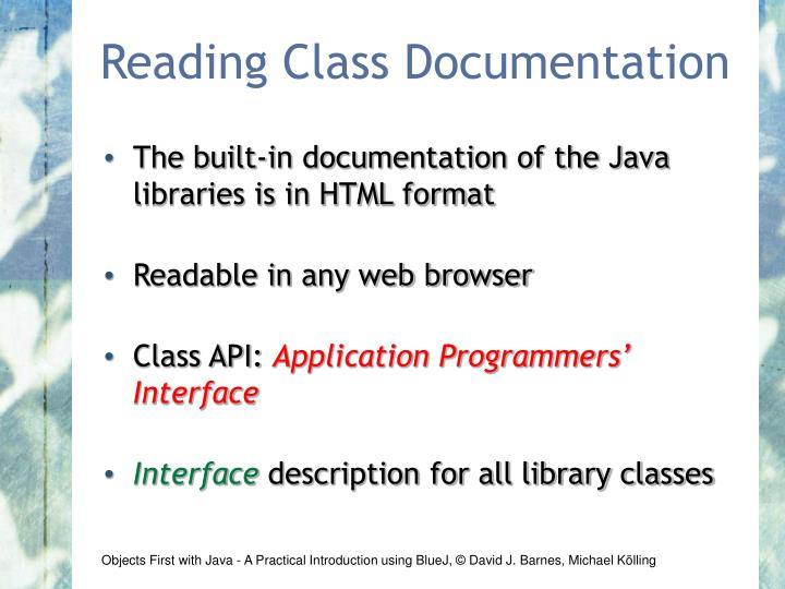 Reading Class Documentation