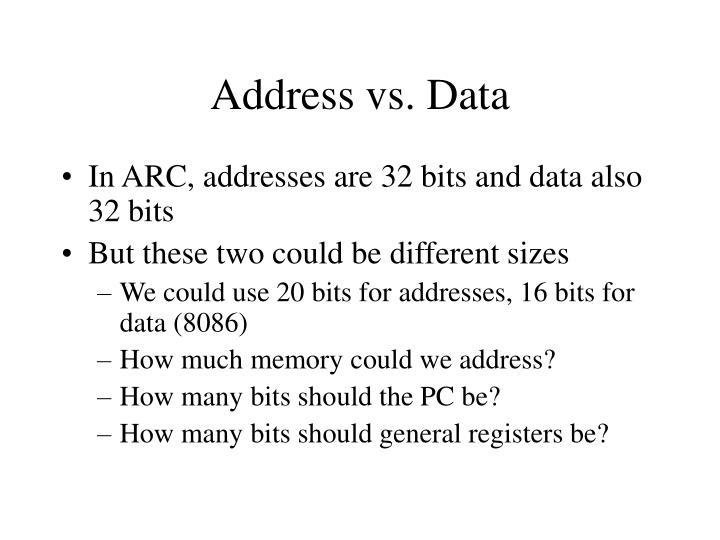 Address vs. Data