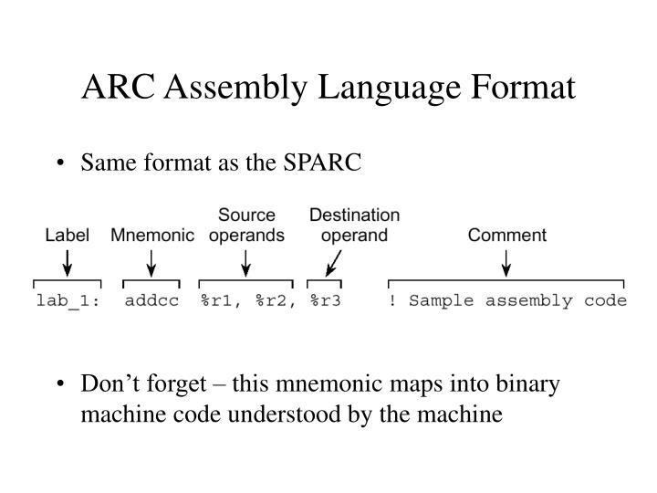 ARC Assembly Language Format