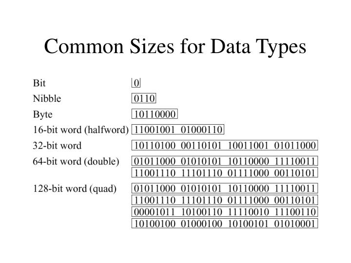 Common Sizes for Data Types