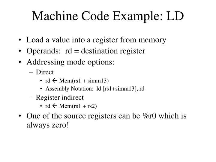 Machine Code Example: LD