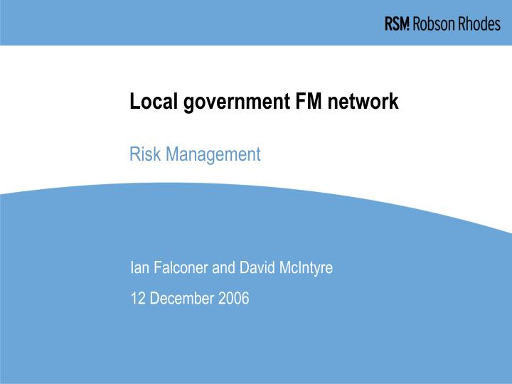 local government fm network risk management n.