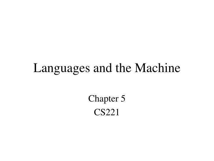 languages and the machine n.
