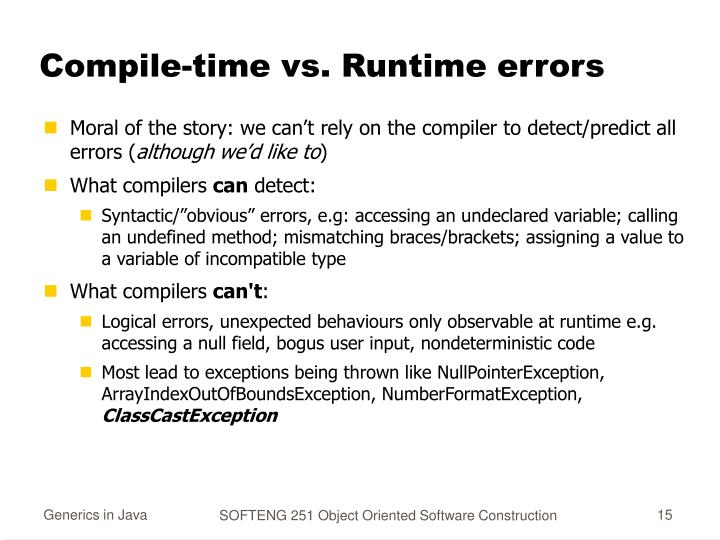 Compile-time vs. Runtime errors
