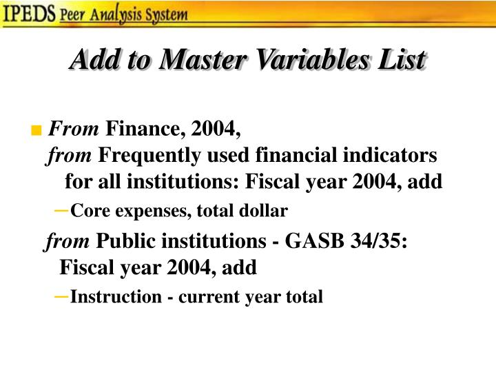 Add to Master Variables List