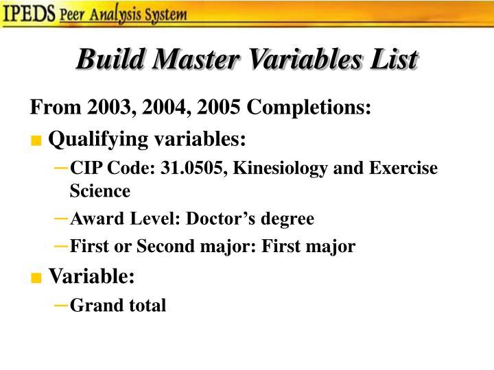 Build Master Variables List