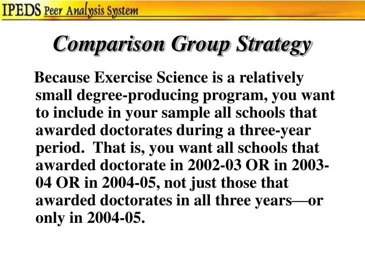 Comparison Group Strategy