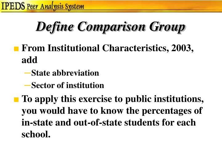 Define Comparison Group