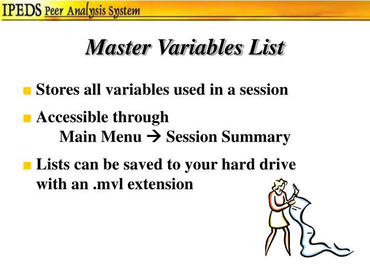 Master Variables List