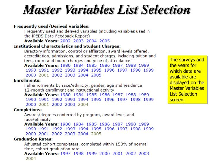 Master Variables List Selection