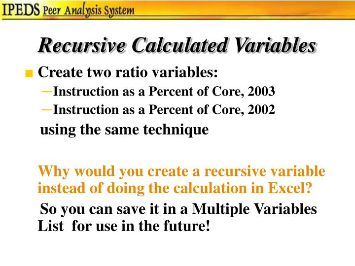 Recursive Calculated Variables