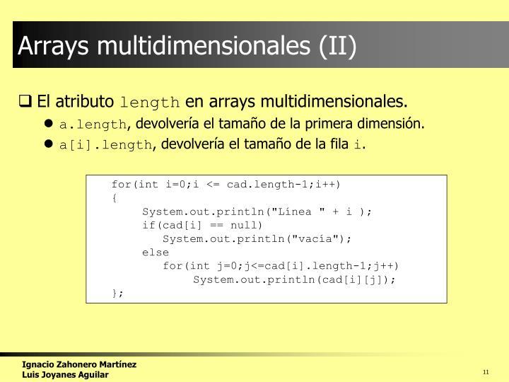 Arrays multidimensionales (II)