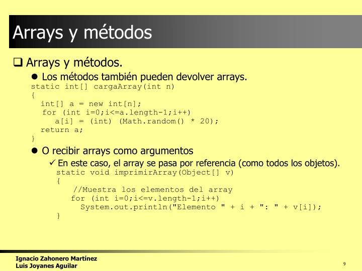 Arrays y métodos