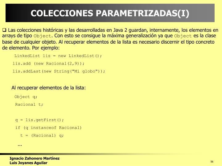 COLECCIONES PARAMETRIZADAS(I)
