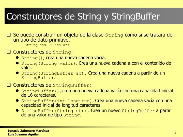 Constructores de String y StringBuffer