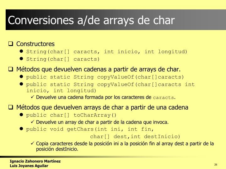Conversiones a/de arrays de char