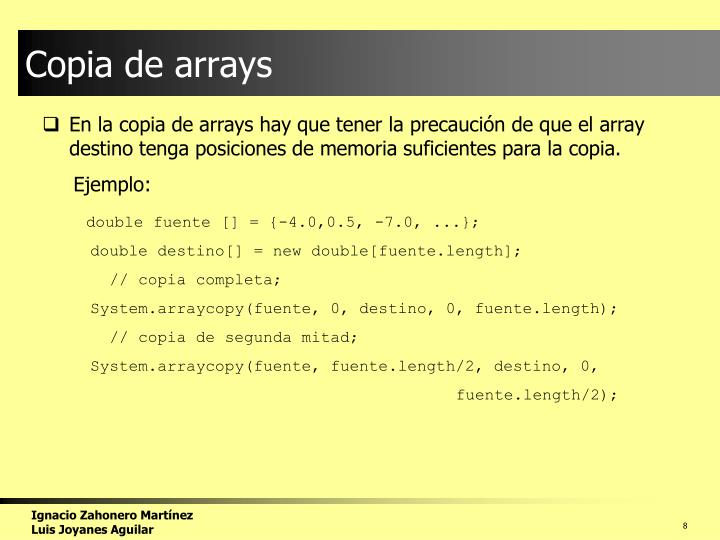 Copia de arrays