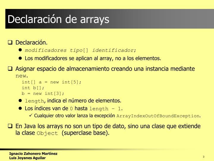 Declaraci n de arrays