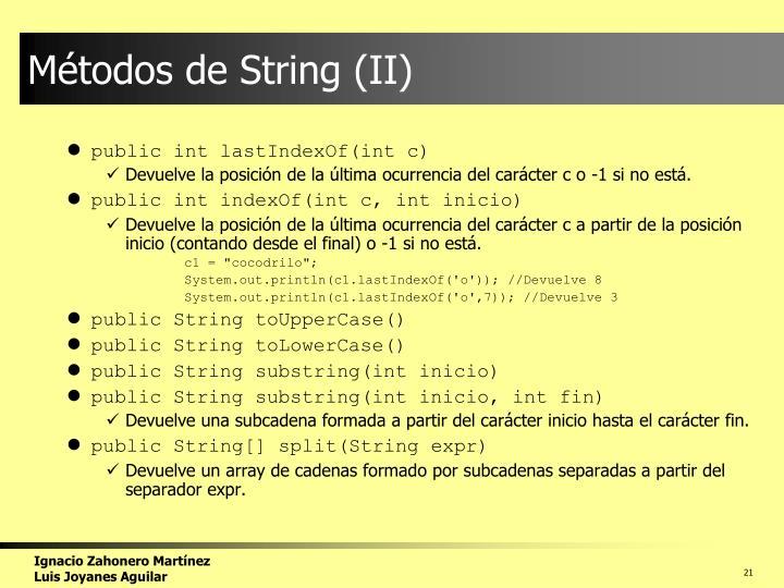 Métodos de String (II)