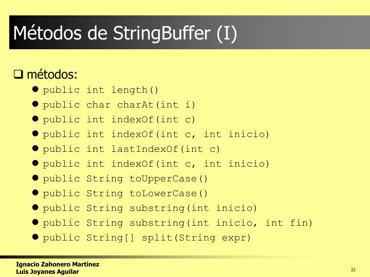 Métodos de StringBuffer (I)