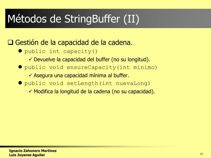 Métodos de StringBuffer (II)